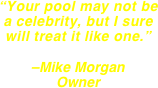 """Your pool may not be a celebrity, but I sure will treat it like one.""  –Mike Morgan Owner"